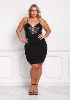Plus Size Clothing | Plus Size Leatherette Cross Strap Bodycon Dress | Debshops