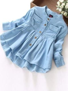Girls Long Sleeve Button Down Denim Tunic - Denim / 6 - Girls Fall Top Indian Fashion Dresses, Girls Fashion Clothes, Teen Fashion Outfits, Trendy Fashion, Ladies Fashion Tops, Cool Outfits, Ladies Tops, Girly Outfits, Stylish Dresses For Girls