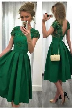 Charming Jewel Cap Sleeves Short Pleated Green Prom Dress with Beading Lace