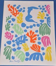 "Henri Matisse The Mermaid Serigraph Print 11"" x 14"" Printed in the USA by World Classics, New York. Print is mounted on a matte which measures 16"" X 19"" The front of the print is very good, perfect fr"