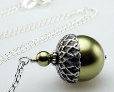 Sterling Silver Acorn Necklace with Light Green by DasheDesigns, $26.00