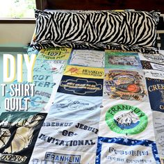 A quilt made from nostalgic tees that you've outgrown.... Reminds me of a certain twilight movie! It was a scene where Bella's mom or Bella gave a blanket just like this! I want to do this for collage, when I'm away from home! :)