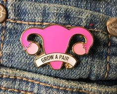 Grow a pair (of ovaries) enamel pin Add some feminist flair to your jacket now with this gorgeous enamel pin! Gold plated and made of soft enamel, the pin measures 30 mm and comes with a gold butterfly clutch. Great for jackets or backpacks! Reminder: You only pay for shipping once an...