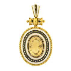 Victorian Enameled Citrine Locket Pendant | From a unique collection of vintage necklace enhancers at https://www.1stdibs.com/jewelry/necklaces/necklace-enhancers/