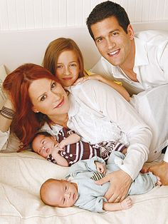 Molly Ringwald with Mathilda and her twins Adele and Roman