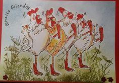 singende Hühner stempeln und aquarellieren Moose Art, Animals, Design, Stamping Up, Cards, Animais, Animales, Animaux, Animal