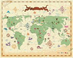 Mapa Mundi desenho  estilo vintage ícones