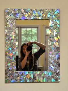 VillarteDesign Artesanato: Moldura de espelho fácil com CDs antigos