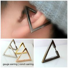 Conch Earring Triangle - Gauge Earring - Ear Cartilage Piercing - Customization Available - pin - Single Earring. the best thing is finding new piercing and piercing jewelry. want this when I get my conch done in a couple months (hopefully) Ohrknorpel Piercing, Double Piercing, Ear Piercings, Smiley Piercing, Ear Jewelry, Body Jewelry, Jewelery, Jewelry Accessories, Conch Earring
