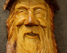 A Unique Wood Spirit Wood Carving of an Elf Wizard Gift, The Perfect One of a Kind Present for Him by Gary Burns the treewiz