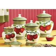 Apple kitchen decor on pinterest kitchens country and for Apple kitchen decoration set