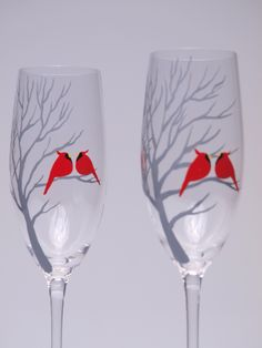 champagne and red wedding glasses!