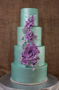 Cup a Dee Cakes Blog: Mint Green and Lavender Wedding Cake