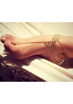 Multi-story Chain Anklets - Gold - Adjustable Clasp Closure Jewelry