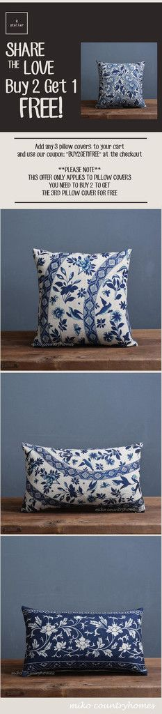 $15 | Blue & White Chinoiserie Floral Art Motif Pillow Cover – R.atelier…