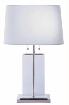 Large Crystal Block Table Lamp with Oval Shade 6