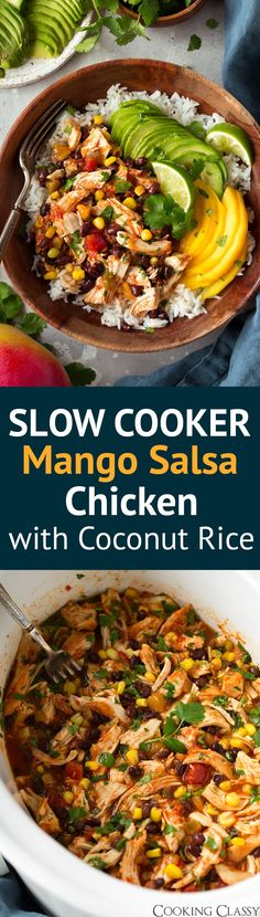 Slow Cooker Mango Salsa Chicken over Coconut Rice - one of the tastiest easy meals you'll ever make! Minimal prep yet the end result is so delicious! Such a tasty blend of flavors that everyone can agree on. A perfect weeknight meal! #slowcooker #mango #salsa #chicken #coconutrice #easydinner #recipe via @cookingclassy