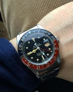 """Not a very nice day today for photos but I'm gonna post this up anyway, to start off my 2016 and freshly taken this morning Rolex GMT Master Ref. 6542"""