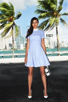#dress #white #clutch #miami