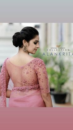 Best 12 Blush lilac pink imported organza sari with designer blouse piece as shown in the picture – SkillOfKing. Net Saree Blouse, Kerala Saree Blouse Designs, Saree Blouse Neck Designs, Silk Saree Blouse Designs, Saree Blouse Patterns, Saree Dress, Stylish Blouse Design, Elegant Saree, Make Up