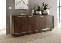 100% made in Italy . Dimensioni mobile: L. 207 x H. 80 x P. 50 Varianti disponibili: legno noce con cornice acciaio inox Caratteristiche prodotto: smontato . Prezzo speciale