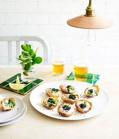 Potato Skins with Whipped Cod Roe Recipe | Luxembourg, Melbourne | Gourmet Traveller #potatoes #caviar #appetizers #potato_skins #cod #roe #seafood