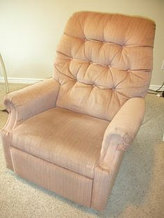 how to reupholster a lazyboy recliner for under 50 dollars! this is going to be my summer project! Time to recover old blue into something fabulous!