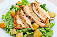Caesar Salad with Grilled Chicken. Quick and easy Caesar Salad with Grilled Chicken is a great dinner for 2 served outside on a nice summer evening. Salmon Recipes, Chicken Recipes, Beef Recipes, Grilled Chicken Caesar Salad, Chicken Salads, Spicy Pickles, Ceasar Salad, Main Dish Salads, Main Dishes