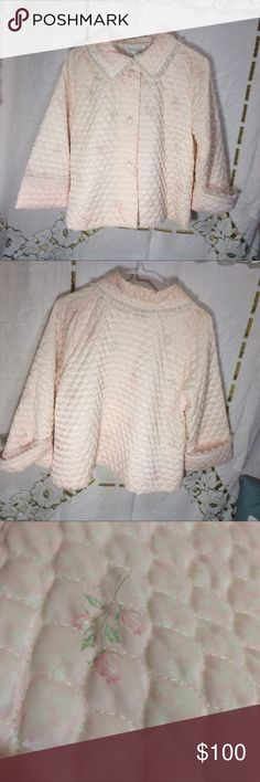 "Dusty pink Christian Dior quilted bed jacket Woman's size large Dusty pink Christian Dior quilted bed jacket. Floral print. Button Up. Vintage. No pilling, fading, holes or stains. 1 spot were a stitch is pulled. White satin lined. The chest measures 21"" the under arm sleeve length is 11 1/2"" and this is 23"" long. Dior Jackets & Coats"
