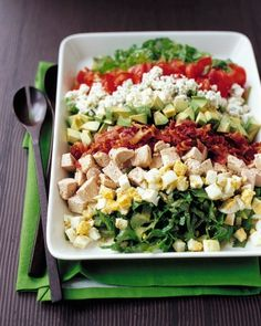 Turkey Cobb Salad  - a pleasing jumble of tastes and textures, including tangy blue cheese, creamy avocado, crisp bacon, and tender turkey leftovers