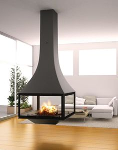 Hanging fireplace / wood-burning / closed hearths / contemporary JULIETTA 985 JC BORDELET