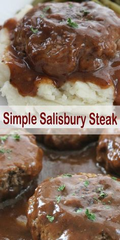 This Simple Salisbury Steak will make for a perfect weeknight recipe idea to ser. - This Simple Salisbury Steak will make for a perfect weeknight recipe idea to serve the family. Hamburger Steak Recipes, Easy Steak Recipes, Grilled Steak Recipes, Easy Dinner Recipes, Cooking Recipes, Chopped Steak Recipes, Ground Beef Recipes For Dinner, Easy Meals With Hamburger Meat, Hamburger Dinner Ideas