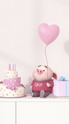Happy B-day to me💕 Pig Wallpaper, Disney Wallpaper, This Little Piggy, Little Pigs, Cute Piglets, Happy Birthday Wallpaper, 3d Art, Cute Happy Birthday, Pig Illustration