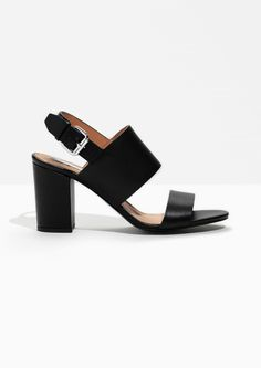 & Other Stories image 1 of Heel Strap Leather Sandalette in Black
