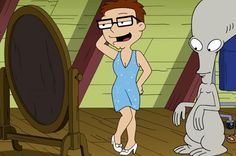 Steve admires his femulation in a 2015 episode of television's American Dad.