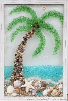 Seashell Art, Seashell Crafts, Beach Crafts, Hawaii Crafts, Sea Glass Crafts, Sea Glass Art, Resin Crafts, Palm Tree Art, Palm Tree Crafts