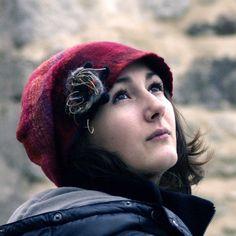 red felt cap felt wool hat ooak hat style hat fiber art by jannio, $86.00