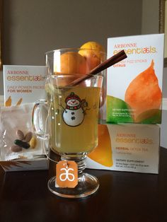 Feeling under the weather? Try Arbonne's natural remedies... Excellent for sore throats, chills or fatigue. Recipe for Citrus Fizz Detox Tea: 1 Herbal detox tea bag 1/4 Fizz Stick (Citrus or pomegranate) 1 cinnamon stick 1 medium to large mug 6-8 oz of hot water.