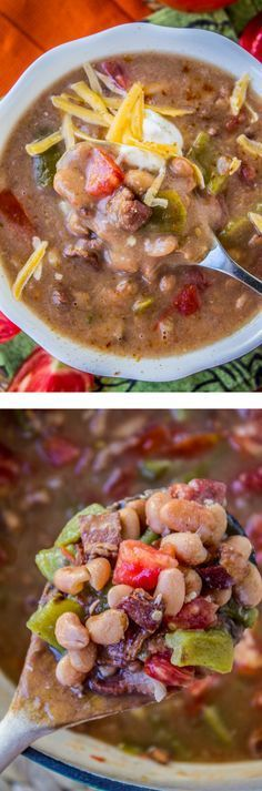 Cowboy Pinto Bean Soup (Slow Cooker) from The Food Charlatan // Frijoles Charros is an old family favorite. Pinto beans, roasted chiles, tomatoes, and, wait for it…BACON.