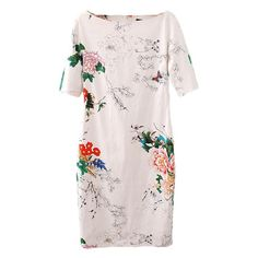 Vintage Woman 2017 Summer Style Knee Length Dresses White Short Sleeve Floral Butterfly Print Slim D