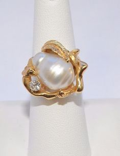 2581-14K YELLOW GOLD WHITE PEARL AND DIAMOND RING 0.20TCW 11.07RAMS SZ 6 #Handmade