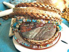 Perfect Treasures - Sand Snake Skin Embossed Leather 3x Wrap Jasper and Turquoise Beaded Adjustable Multi Strand Bracelet   by LeatherDiva, $48.00