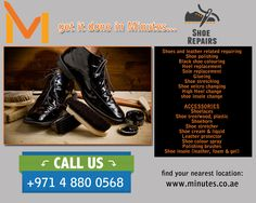 Minutes is the number one shop offering shoe repair and key cutting services in Dubai & Sharjah UAE. For further details, visit www.minutes.co.ae