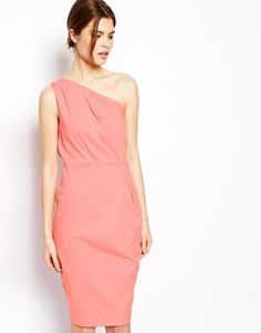 7f4704a43e7 ASOS - Pink Folded One Shoulder Dress - Lyst