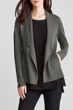 "Notch collar jacket in silk and organic cotton interlock in ""Oregano"". The blazer, in a soft, structured knit with clean lines. Easy fit with princess seams for shape. Notch collar; on-seam pockets.  Measures 29 1/2 inches on the body (size small)."