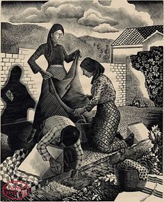 Tom Chadwick 1935, wood engraving. Wayside Laundry was derived from his travels in Spain and Italy in 1933 and 1934