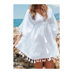 V Neck White Lace Embroidery Mini Dress (29 CAD) ❤ liked on Polyvore featuring dresses, white, white embroidered dress, short white dresses, short lace dress, lace dress and v neck dress