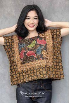 Batik Amarillis made in Indonesia Batik Blazer, Blouse Batik, Batik Dress, Kimono, Batik Fashion, Fashion Sewing, Diy Fashion, Fashion Dresses, Lolita Fashion