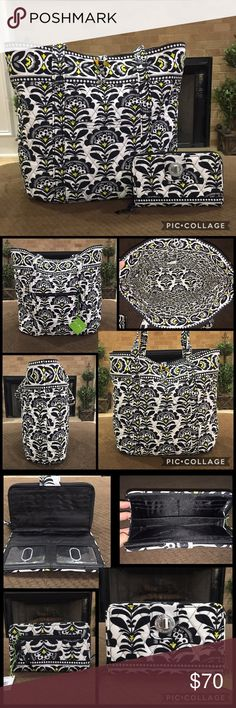 """NWT! Vera Bradley Retired Pattern- Tote and Wallet This is an authentic Vera Bradley """"Vera"""" Tote in the retired and most favorited """"Fanfare"""" pattern.  It is brand new with the tags $86. This is a bundle listing for Tote and matching Turnlock Wallet. Retail $135  Details: Tote 11"""" strap drop Six inside pockets Two outside pockets; one zippered, one slip-in Sturdy base Ultimate carry-all Tortoise toggle closure Key clip Named for Vera Bradley  Dimensions: 15"""" w x 14¾"""" h x 6¼"""" d - 11"""" strap…"""