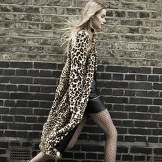 Leopard Fur Coat Wild Style, Style Me, Leopard Fur Coat, Kimono Top, Street Style, Clothes For Women, Womens Fashion, Long Sleeve, Wild Fashion